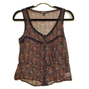 Lily White Small Floral Sheer Crop Top Spring